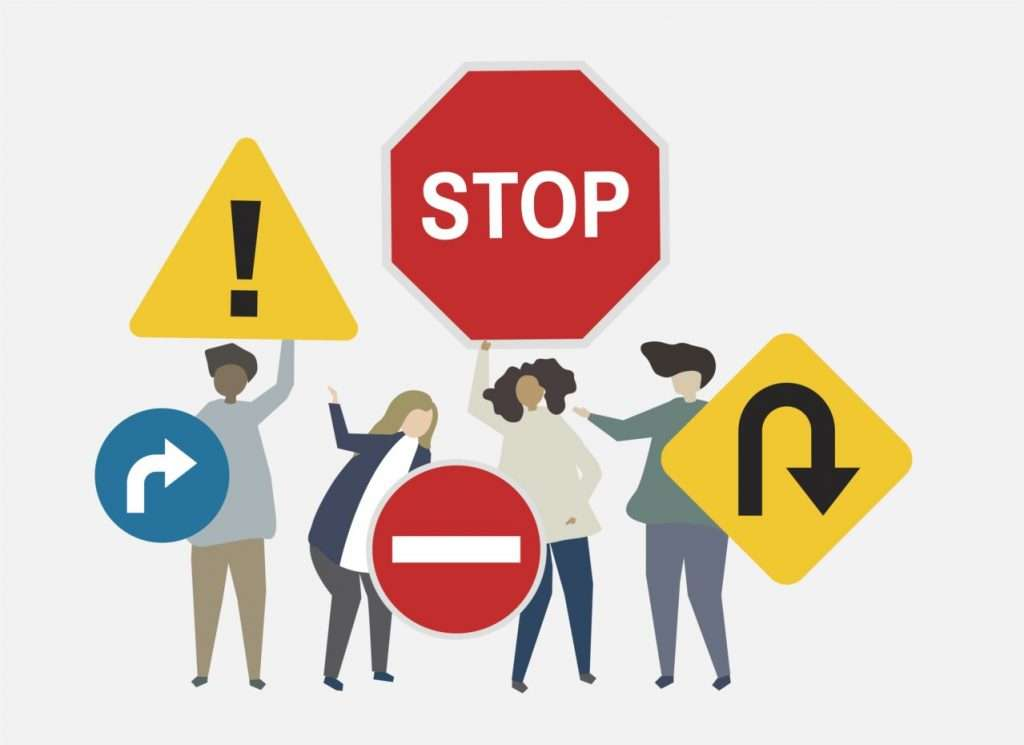 Illustration of street signs for safety concerns illustration